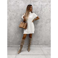 Γυναικείο πλεκτό μπλουζοφόρεμα 00818 άσπρο