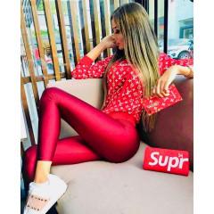 Γυναικείο κολάν σε γυαλιστερή υφή 3454 κόκκινο