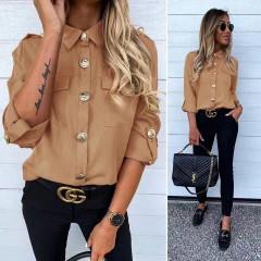 Γυναικείο πουκάμισο με εντυπωσιακά κουμπιά 3741 καμηλό