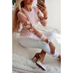 Γυναικεία μπλούζα με εντυπωσιακό μανίκι 2805 ροζ