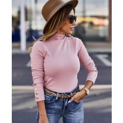 Μπλούζα ζιβάγκο με κουμπιά 2643 ροζ