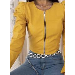 Γυναικείο μπουφάν δερματίνης J155 κίτρινο