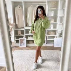 Γυναικείο μπλουζοφόρεμα με κουκούλα 3601 πράσινο