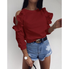 Γυναικεία μπλούζα έξωμη 5265 μπορντό