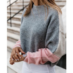 Γυναικείο τρίχρωμο πουλόβερ 00355 γκρι