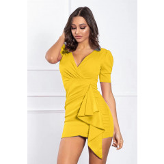Γυναικείο κοντομάνικο φόρεμα 2057 κίτρινο