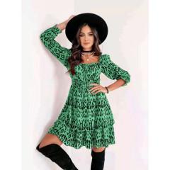 Γυναικείο φόρεμα με print 8870 πράσινο