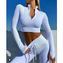 Γυναικείο ελαστικό αθλητικό σετ 2425 άσπρο