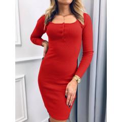 Γυναικείο φόρεμα με κουμπιά 3830 κόκκινο