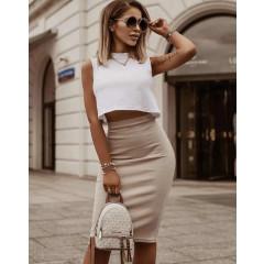 Γυναικεία ψηλόμεση φούστα 5195 μπεζ