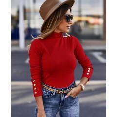 Μπλούζα ζιβάγκο με κουμπιά 2643 κόκκιη