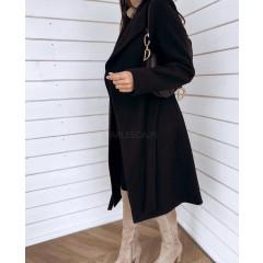 Γυναικείο μακρύ παλτό 3821 μαύρο