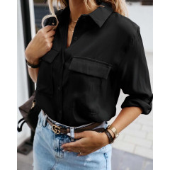 Γυναικείο πουκάμισο με τσέπες 5284 μαύρο