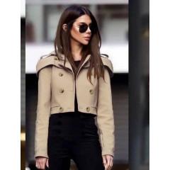 Γυναικείο κοντό παλτό 21633 μπεζ