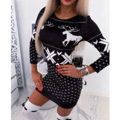 Γυναικείο χριστουγεννιάτικο φόρεμα βελουτέ 9687 μαύρο