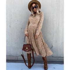 Γυναικείο μακρύ φόρεμα σολέϊ με print 24621 μπεζ