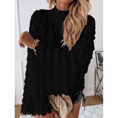 Γυναικείο πουλόβερ με φαρδύ μανίκι 00695 μαύρο