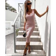 Γυναικείο φόρεμα με τιράντες αλυσίδες 4356 ροζ