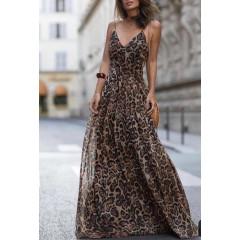 Γυναικείο μακρύ φόρεμα τιγρέ 2706