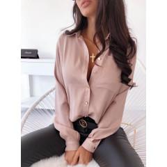 Γυναικείο μονόχρωμο πουκάμισο 3295 ροζ