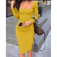 Φόρεμα με τετράγωνο ντεκολτέ 3450 κίτρινο