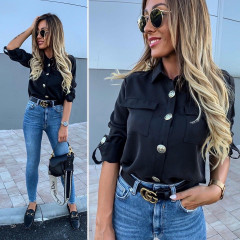 Γυναικείο πουκάμισο με εντυπωσιακά κουμπιά 3741