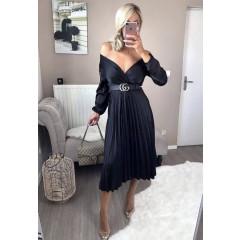 Γυναικείο σατέν φόρεμα σολέϊ 9509 μαύρο