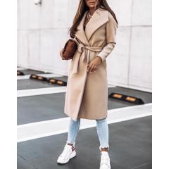 Γυναικείο μακρύ παλτό 3821 μπεζ