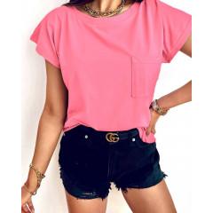 Γυναικείο κοντομάνικο με τσέπη 81525 ροζ