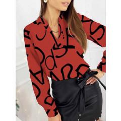 Γυναικεία μπλούζα με print 3974 κόκκινη