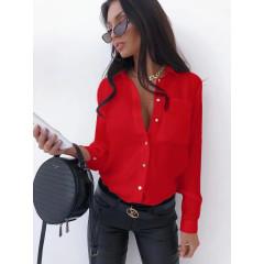 Γυναικείο μονόχρωμο πουκάμισο 3295 κόκκινο