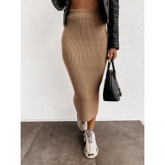 Γυναικεία ελαστική φούστα 4043 καμηλό