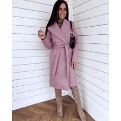 Γυναικείο μακρύ παλτό 3821 ροζ