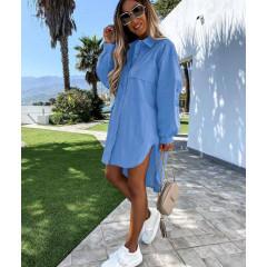 Γυναικείο χαλαρό πουκάμισο 5538 γαλάζιο