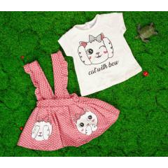 Βρεφικό σετ 2μχ. σαλοπέτα και κοντομάνικο γατάκι 50521056 ροζ
