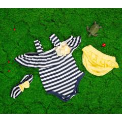 Βρεφικό σετ 3τμχ. κορμάκι, κορδέλα και βρακάκι 5055384 σκούρο μπλε/κίτιρνο