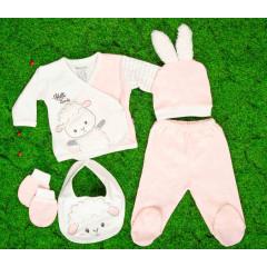 Βρεφικό σετ 5τμχ. παντελόνι με κλειστό πόδι, μπλούζα, σκουφάκι, γάντια και σαλιάρα 50515086 ροζ ανοιχτό