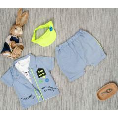 Βρεφικό σετ 4τμχ. σκουφάκι, κοντομάνικο, πουκάμισο και παντελονάκι 5053210 μπλε
