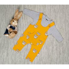Βρεφικό σετ 2τμχ. μπλούζα και ολόσωμη φόρμα αρκουδάκι 5054709 κίτρινο