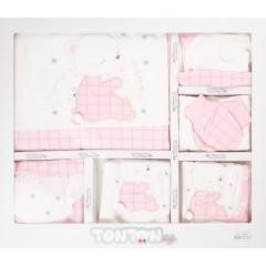Βρεφικό σετ νεογέννητου 10τμχ. 505137 άσπρο/ροζ