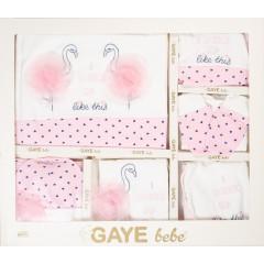 Βρεφικό σετ για νεογέννητο 10τμχ. φλαμίνγκο 505673 άσπρο ροζ