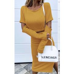 Γυναικείο σετ μπλούζα και φούστα 3814 κίτρινο