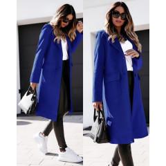 Γυναικείο παλτό μίντι με φόδρα 5361 μπλε
