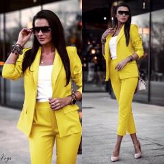 Γυναικείο σετ σακάκι και παντελόνι 3970 κίτρινο