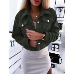 Γυναικείο εντυπωσιακό μπουφάν 5333 σκούρο πράσινο
