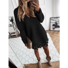 Γυναικείο χαλαρό πουλόβερ 8056 μαύρο