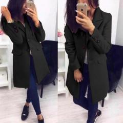 Γυναικείο στιλάτο παλτό 19688 μαύρο