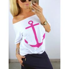 Γυναικεία μπλούζα 3589 λευκό /ροζ