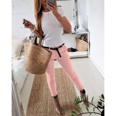 Γυναικείο παντελόνι με ζώνη 1805 ροζ