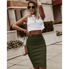 Γυναικεία ψηλόμεση φούστα 5195 σκούρο πράσινο
